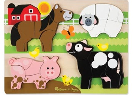 Melissa & Doug - Farm Animals Chunky Jigsaw Puzzle by  (0000772018913) - Jigsaw - Children's Toys & Games Games & Puzzles