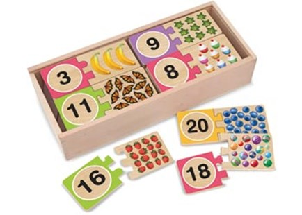 Melissa & Doug - Numbers Wooden Puzzle Cards - Children's Toys & Games Educational