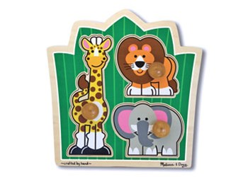 Melissa & Doug - Jungle Friends Knob Puzzle 3 Piece