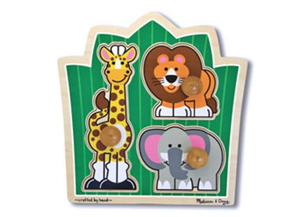 Melissa & Doug - Jungle Friends Knob Puzzle 3 Piece - Children's Toys & Games Games & Puzzles