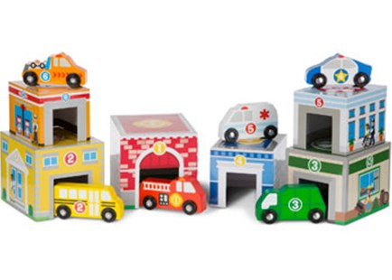Melissa & Doug - Nesting & Sorting Buildings & Vehicles - Children's Toys & Games Infant Toys