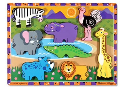 Melissa & Doug - Safari  Chunky Puzzle - Children's Toys & Games Games & Puzzles