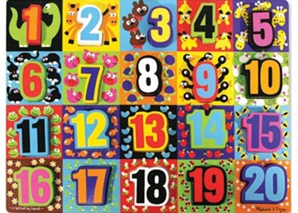 Melissa & Doug - Jumbo Numbers Chunky Puzzle 20 Pieces - Children's Toys & Games Educational