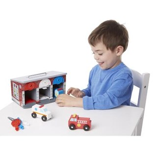 Melissa & Doug - Lock & Roll Rescue Truck Garage - Children's Toys & Games Vehicles