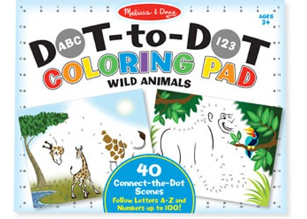 Melissa & Doug - ABC 123 Dot-to-Dot Colouring Pad - Wild Animals - Children's Toys & Games Arts & Crafts