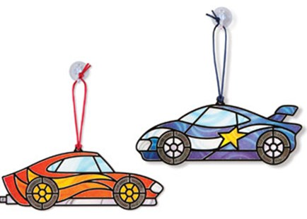 Melissa & Doug - Stained Glass Made Easy - Race Cars - Children's Toys & Games Arts & Crafts