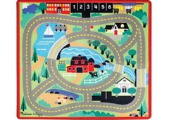 Melissa & Doug - Round the Town Road Rug with 4 Vehicles