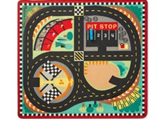 Melissa & Doug - Round the Speedway Race Track Rug with 4 Vehicles