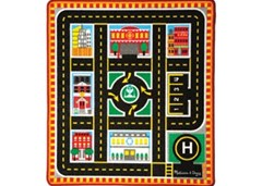 Melissa & Doug - Round The City Rescue Rug with 4 Vehicles