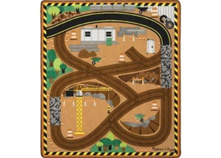 Melissa & Doug - Round the Construction World Zone Site Rug with 3 Vehicles - Children's Toys & Games Infant Toys