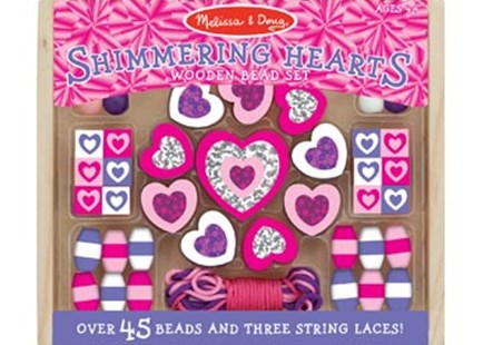 Melissa & Doug - Wooden Shimmering Hearts Bead Set - Children's Toys & Games Arts & Crafts