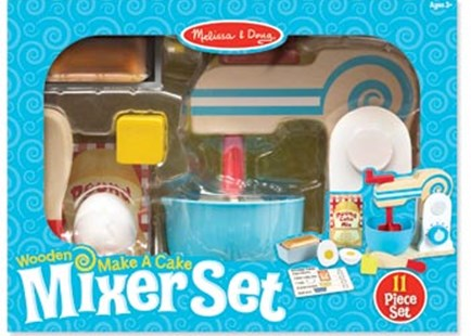 Melissa & Doug - Wooden Make-A-Cake Mixer Set - Children's Toys & Games Dress Up & Role Play