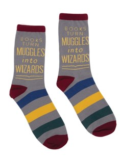 Books Turn Muggles into Wizards Socks - Large by  (0656554045631) - Clothing - Clothing Clothing Accessories