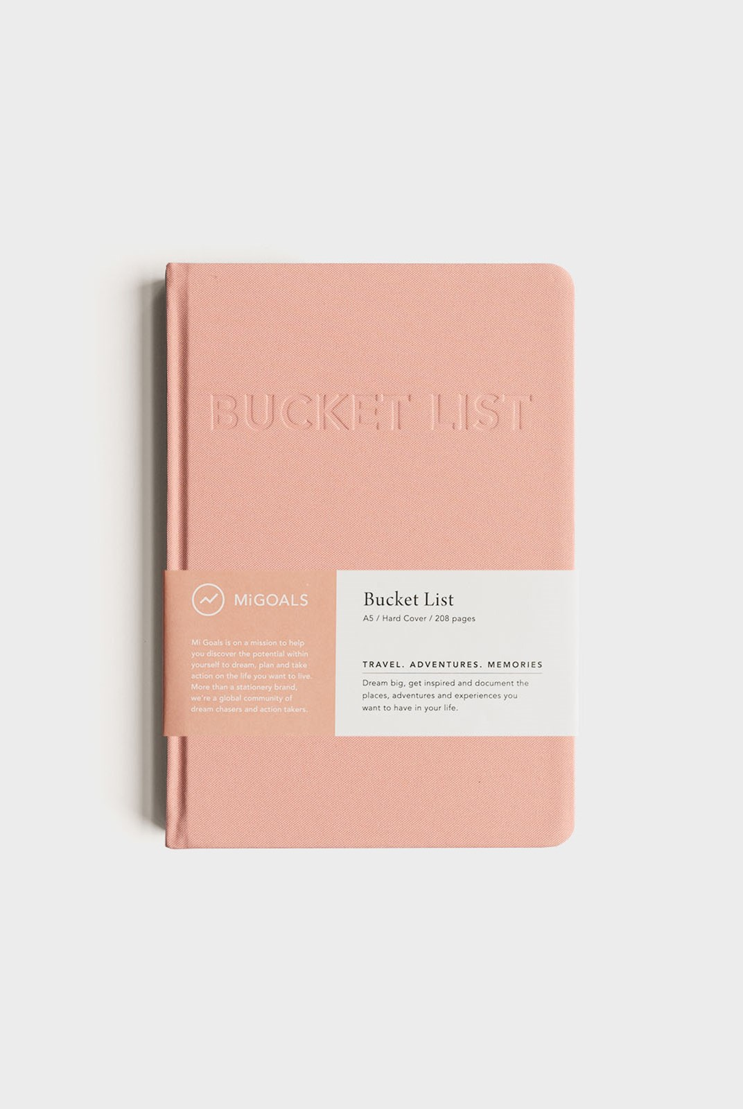 MiGoals - Bucket List Notebook - A5 - Hard Cover - Coral
