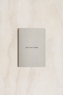 MiGoals - Get Shit Done Notebook - A6 - Soft Cover - Minimal Grey & Black Foil - Notebooks & Journals Notebook - Meeting & Action