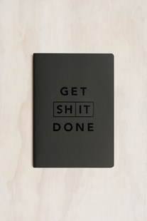 MiGoals - Get Shit Done Notebook - A5 - Soft Cover - Classic Black & Black Foil - Notebooks & Journals Notebook - Meeting & Action