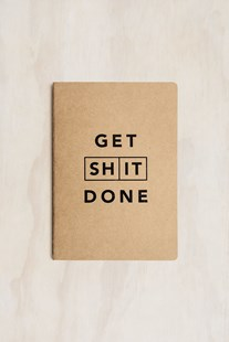 MiGoals - Get Shit Done Notebook - A5 - Soft Cover - Classic Kraft & Black Foil - Notebooks & Journals Notebook - Meeting & Action