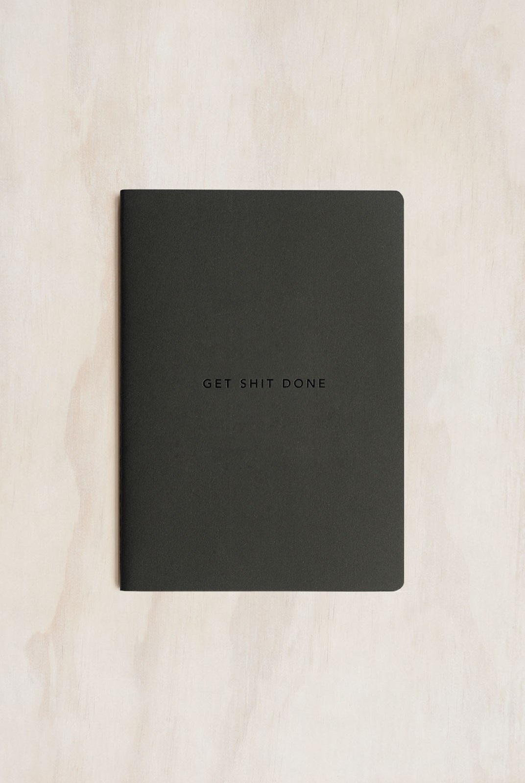 MiGoals - Get Shit Done Notebook - A5 - Soft Cover - Minimal Black & Black Foil