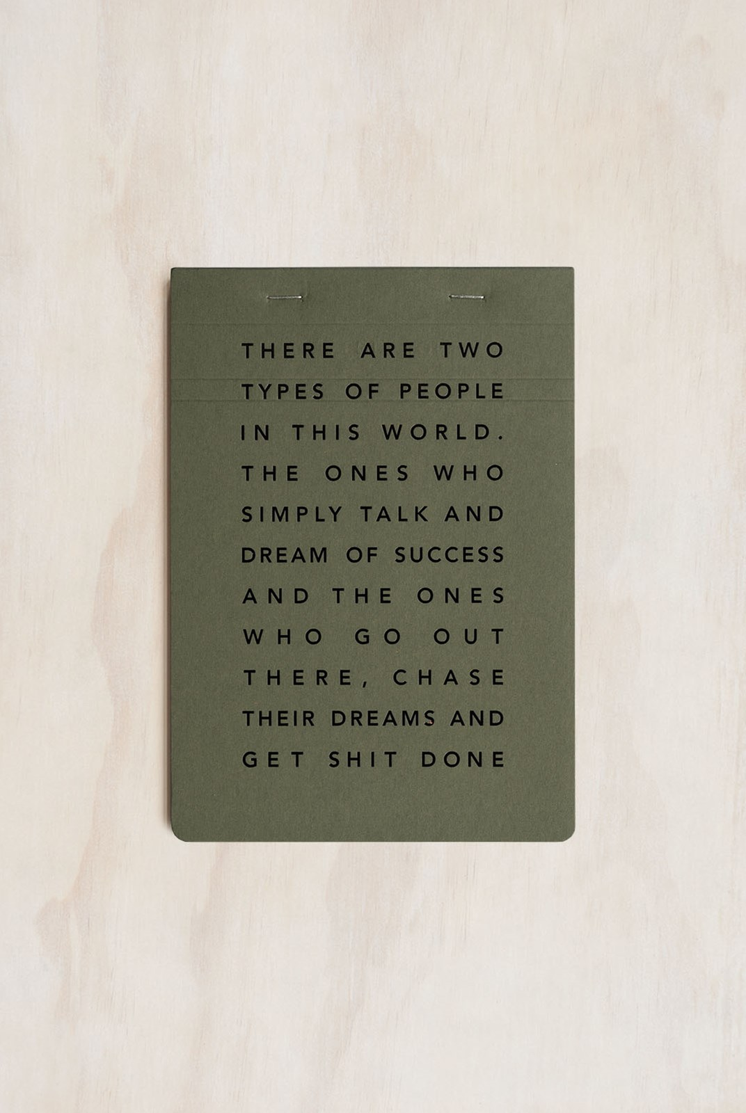 MiGoals - Get Shit Done Notepad - A5 - Soft Cover - Manifesto Khaki & Black Foil
