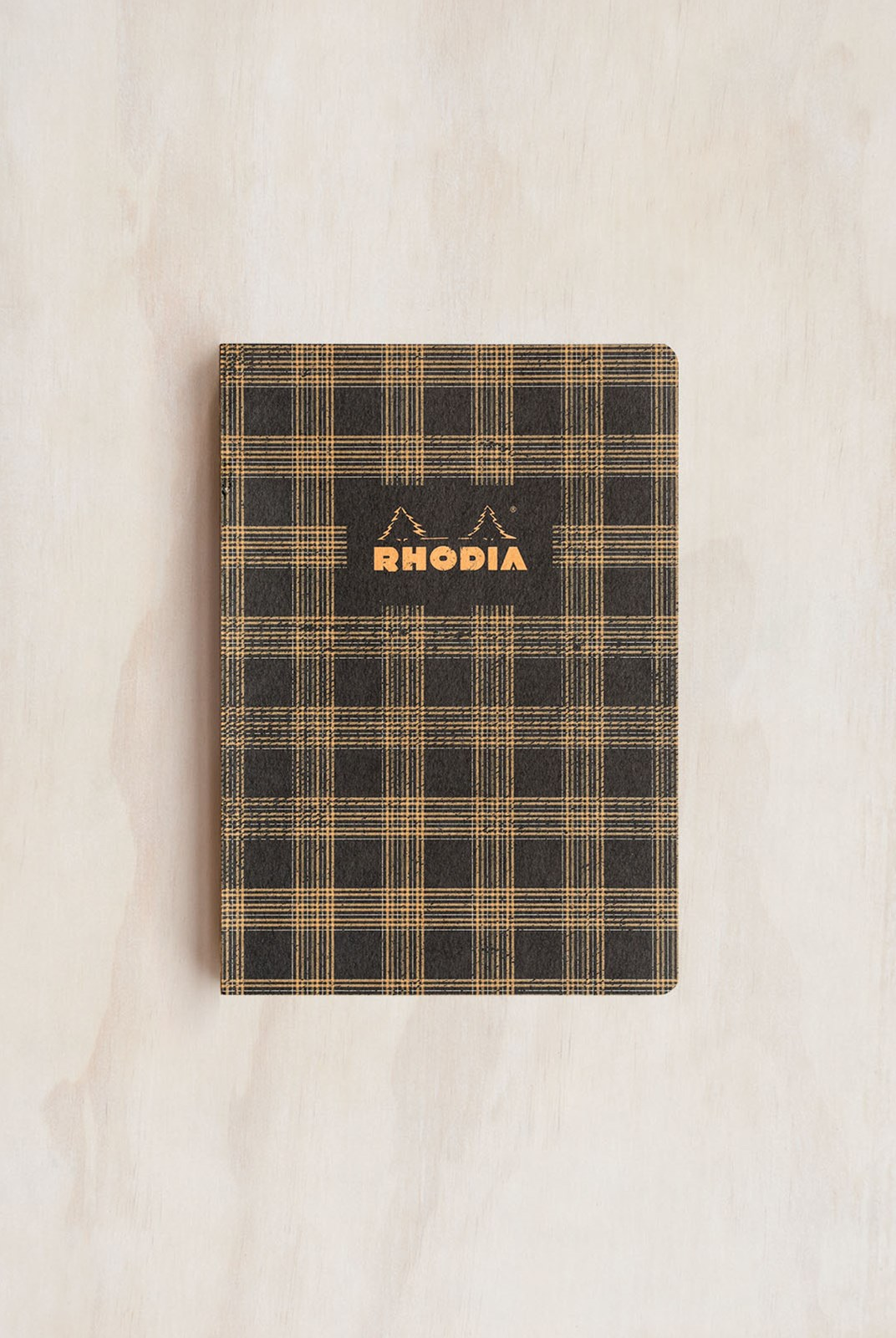 Rhodia - Heritage Notebook - Raw Bind - Ruled - A5 - Tartan Black