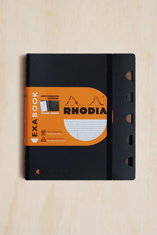 Rhodia - Office Exabook Organisational Notebook - Refillable - Ruled - A5 - Black