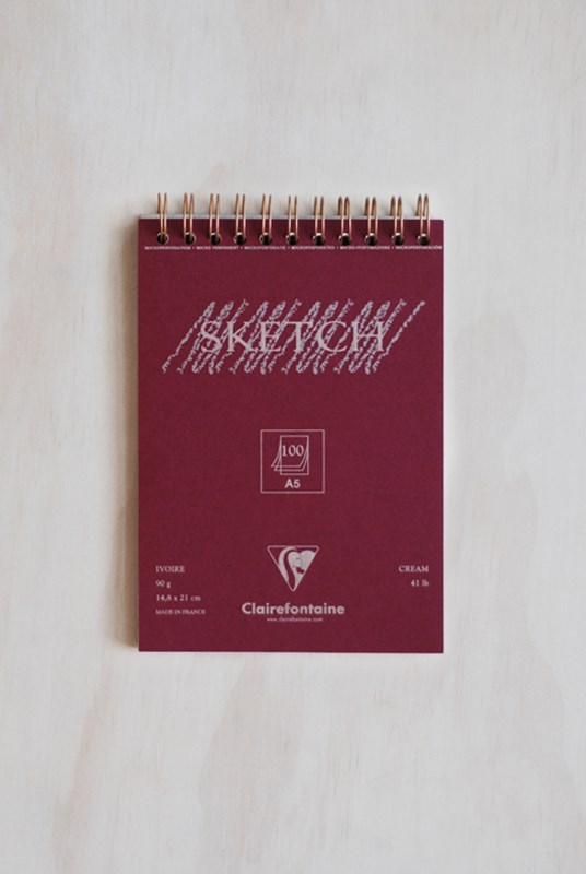 Clairefontaine - Wire Bound 90gsm Sketching Pad - Plain - A5 - Ivory