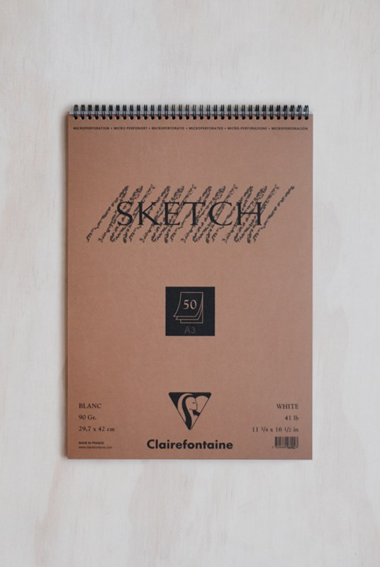 Clairefontaine - Wire Bound 90gsm Sketching Pad - Plain - A3 - White