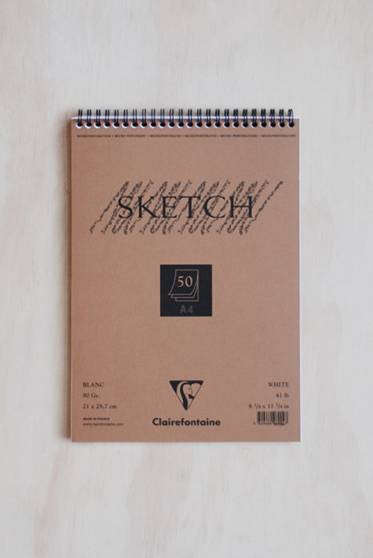 Clairefontaine - Wire Bound 90gsm Sketching Pad PLN A4 White