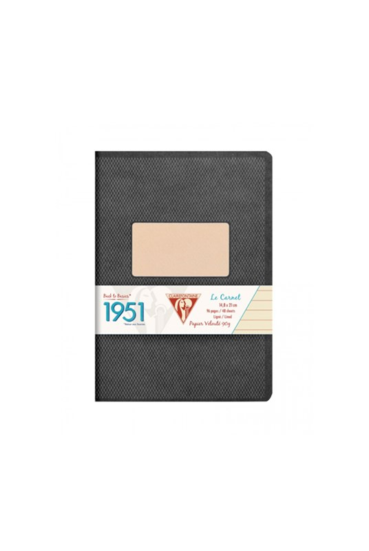 Clairefontaine - '1951' Stapled Notebook - Ruled - A5 - Black