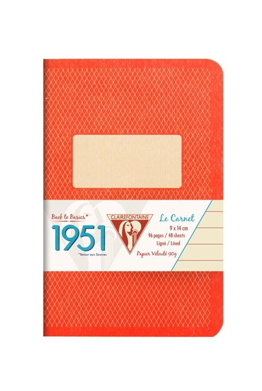 Clairefontaine - '1951' Stapled Notebook - Ruled - Pocket - Red