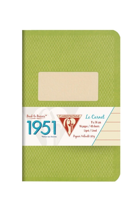 Clairefontaine - '1951' Stapled Notebook - Ruled - Pocket - Green