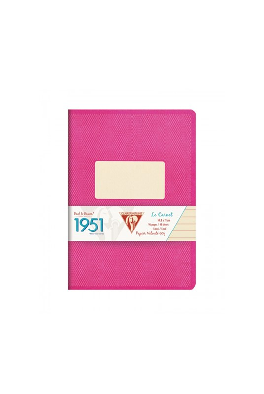 Clairefontaine - '1951' Stapled Notebook - Ruled - A5 - Strawberry
