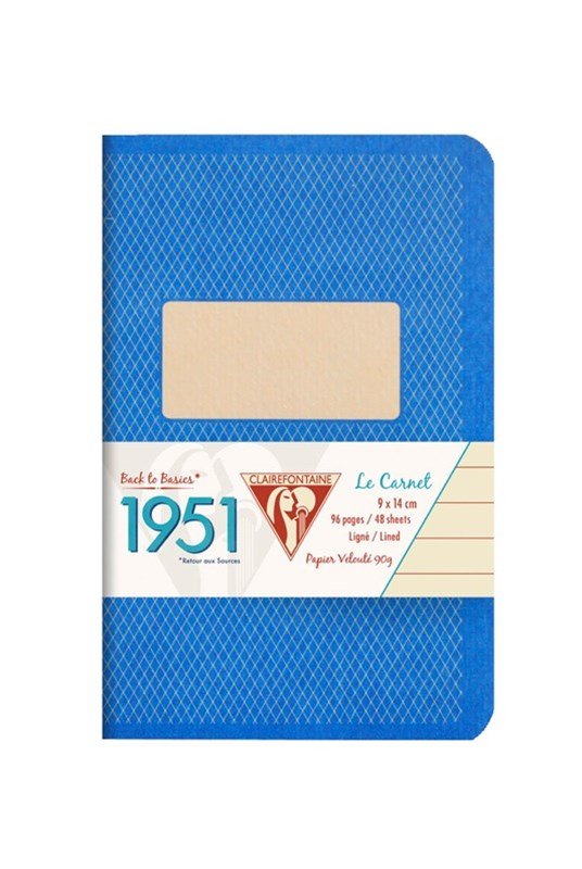 Clairefontaine - '1951' Stapled Notebook - Ruled - Pocket - Blue
