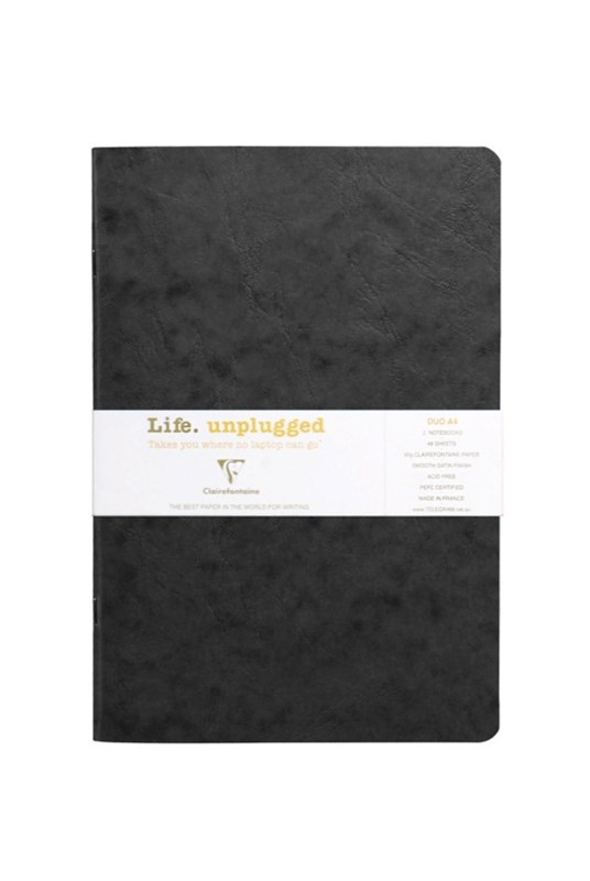 Clairefontaine - Stapled Twin Set Notebooks - Plain - A4 - Black