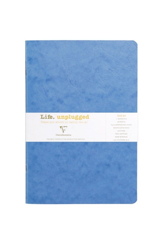Clairefontaine - Stapled Twin Set Notebooks - Plain - A4 - Blue