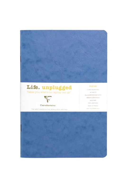 Clairefontaine - Stapled Twin Set Notebooks - Ruled - A5 - Blue
