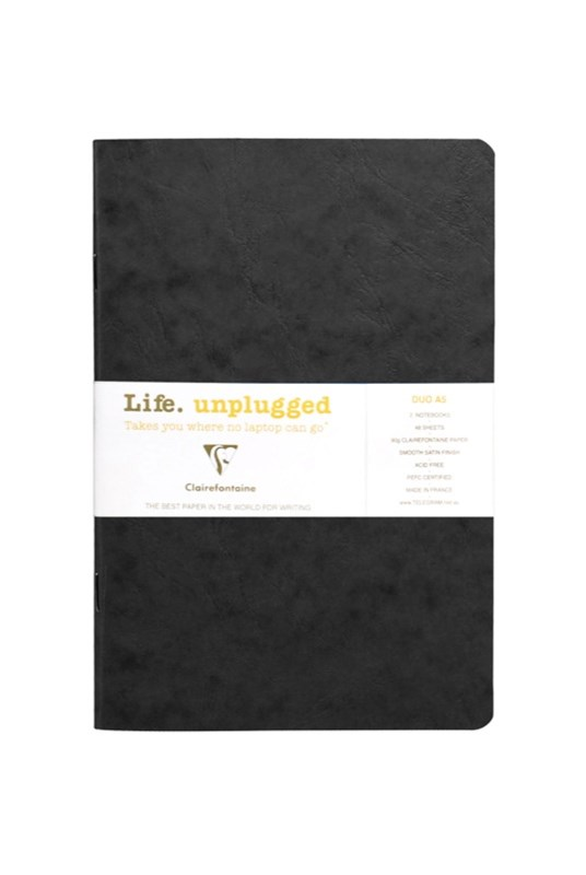 Clairefontaine - Stapled Twin Set Notebooks - Plain - A5 - Black