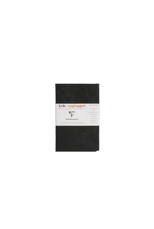 Clairefontaine - Stapled Twin Set Notebooks - Ruled - Pocket - Black