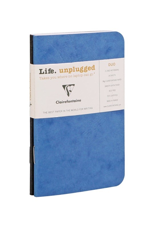 Clairefontaine - Stapled Twin Set Notebooks - Ruled - Pocket - Blue