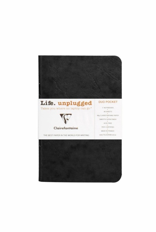 Clairefontaine - Stapled Twin Set Notebooks - Plain - Pocket - Black
