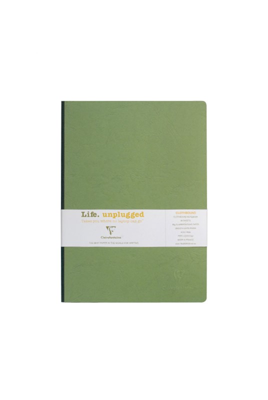 Clairefontaine - Clothbound Notebook - Plain - A4 - Green