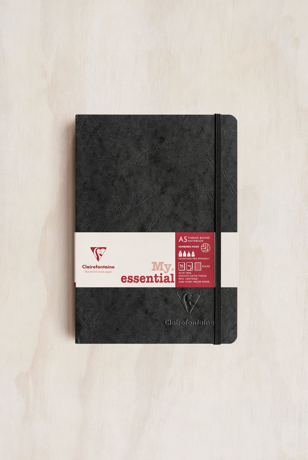 Clairefontaine - Thread-bound Notebook RLD A5 Black