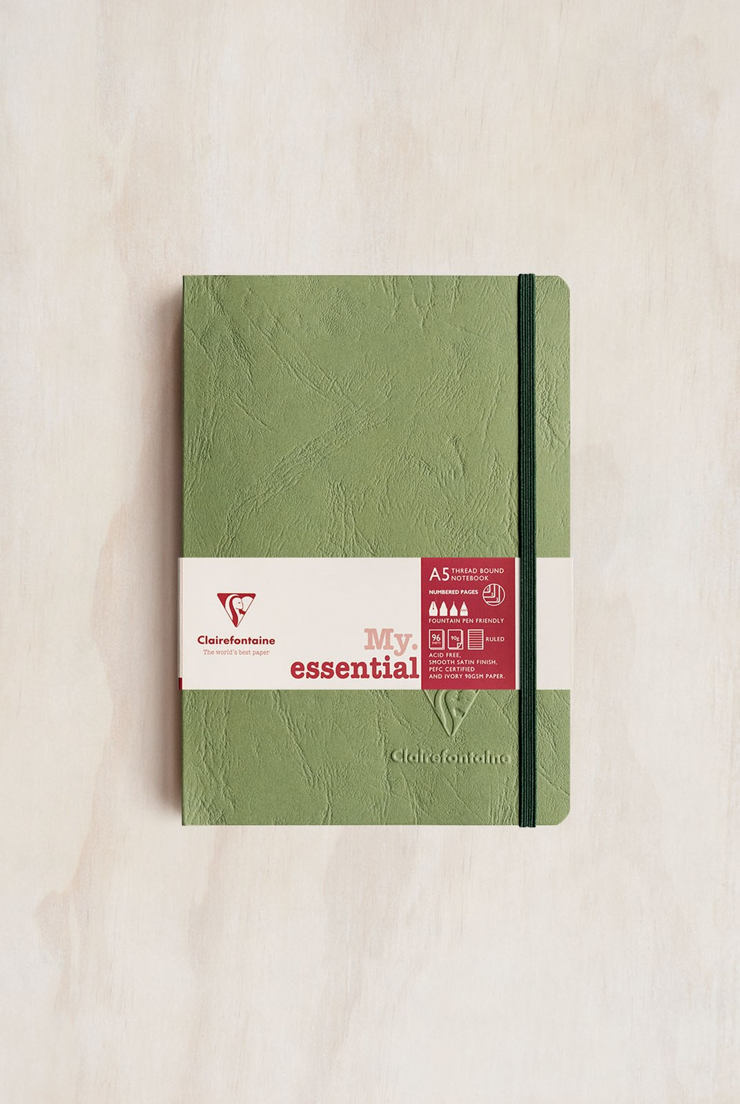 Clairefontaine - Thread-bound Notebook - Ruled - A5 - Green
