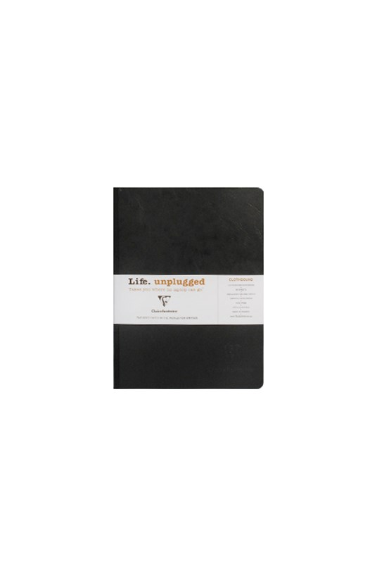 Clairefontaine - Clothbound Notebook - Plain - A5 - Black