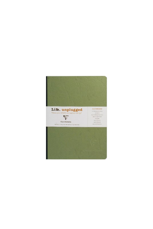 Clairefontaine - Clothbound Notebook - Plain - A5 - Green