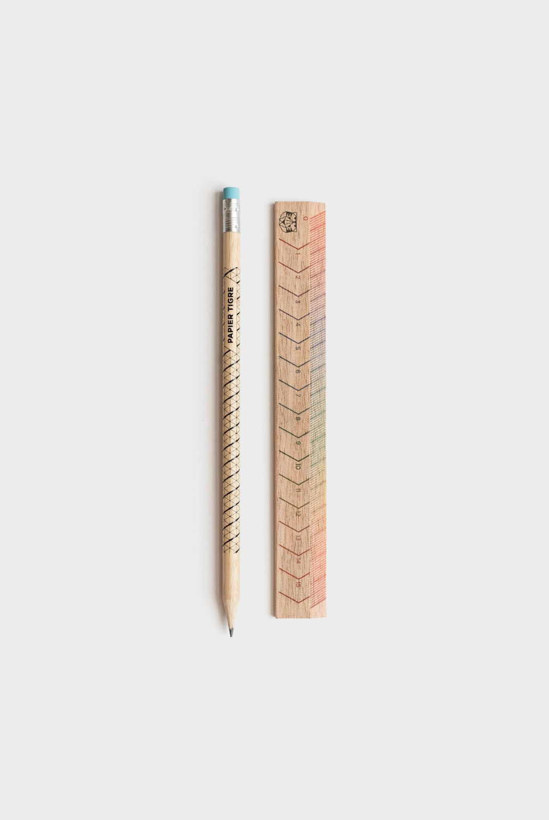 Papier Tigre - Pencil and Ruler Set - Rainbow