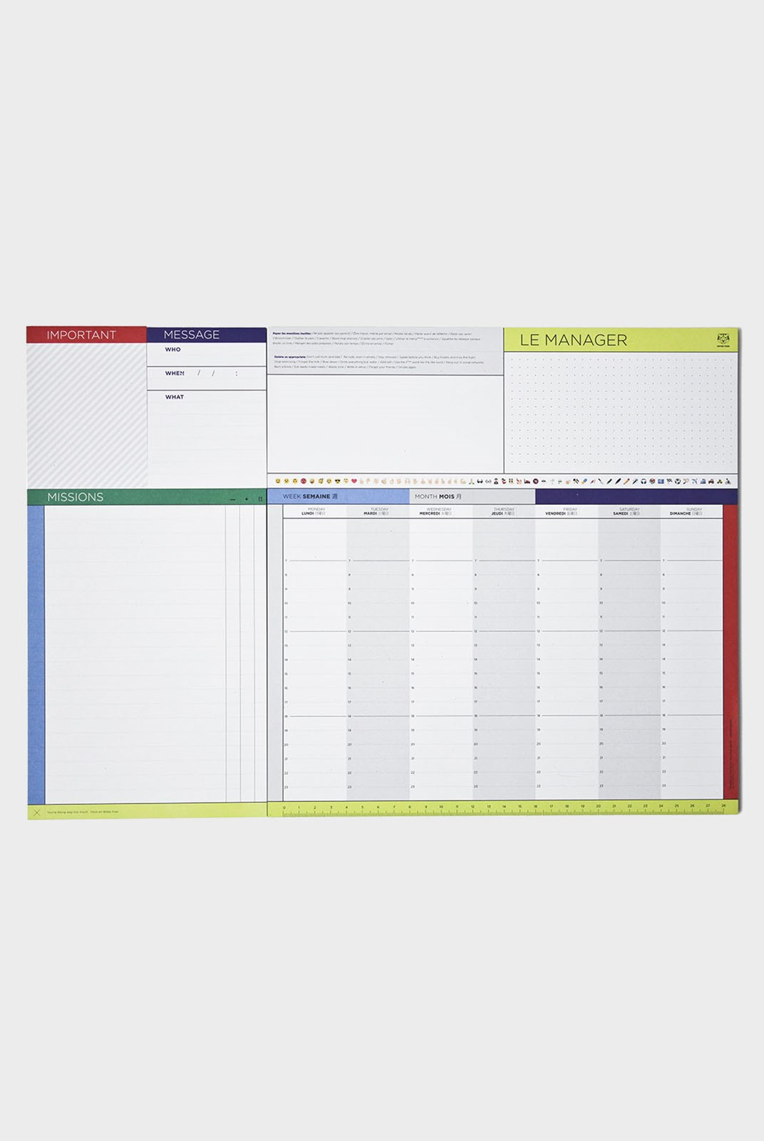 Papier Tigre - Weekly Undated Desk Scheduler - The Manager
