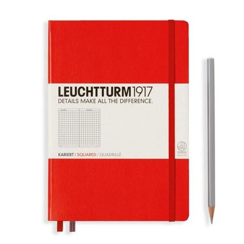 A5 Notebook Red Medium Squared H/C