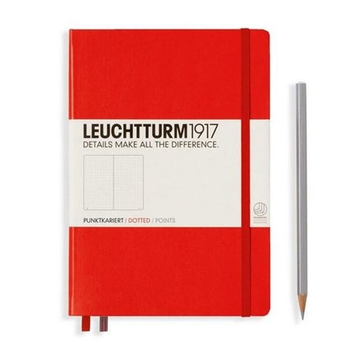 A5 Notebook Red Medium Dotted H/C