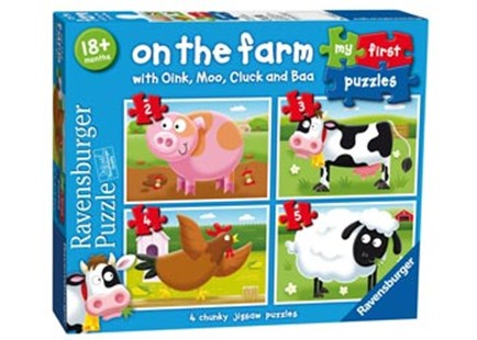 Ravensburger - On the Farm My First Puzzle 2 3 4 5pc - Jigsaws